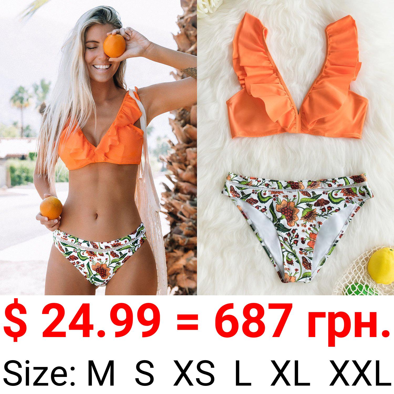 Orange Ruffle Bikini with Floral Bottom