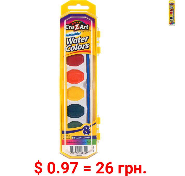 Cra-Z-Art Washable Watercolor Paints with Brush, 8 Colors