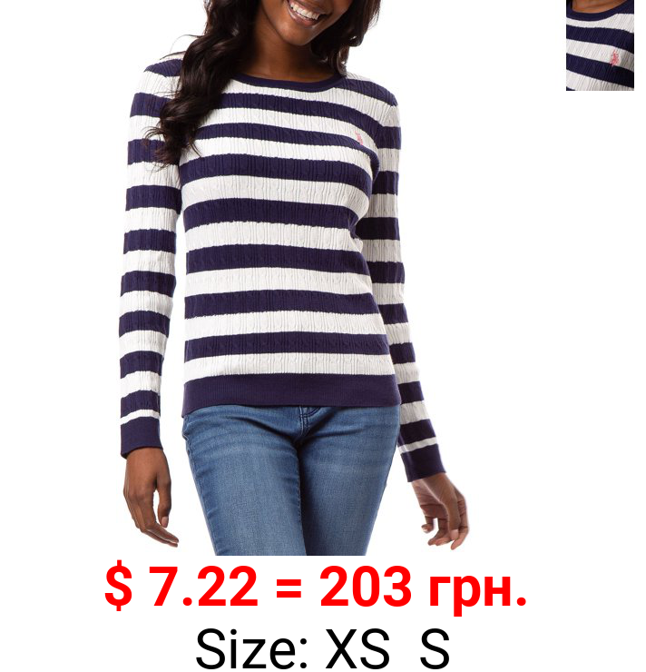 U.S. Polo Assn. Women's Stripe Crewneck Cable Sweater