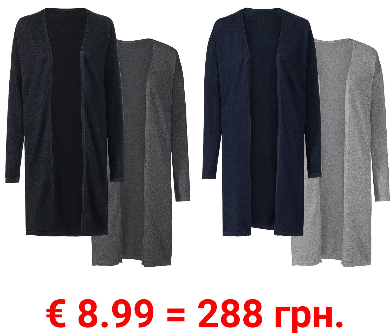 ESMARA® Long Cardigan Damen, 2 Stück, weicher Feinstrick, aus reiner Bio-Baumwolle