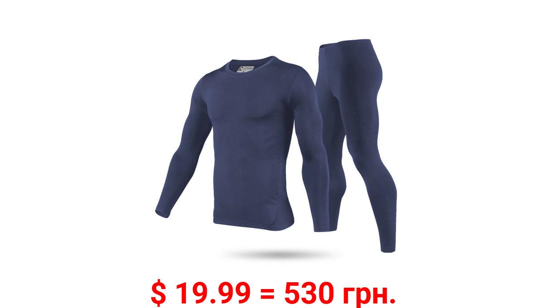 Men's Ultra-Soft Tagless Fleece Lined Thermal Top & Bottom Underwear Set, Navy Blue, Small