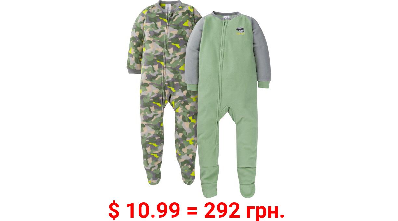 Gerber Baby & Toddler Boys 100% Polyester Fleece Pajamas, 2-Pack