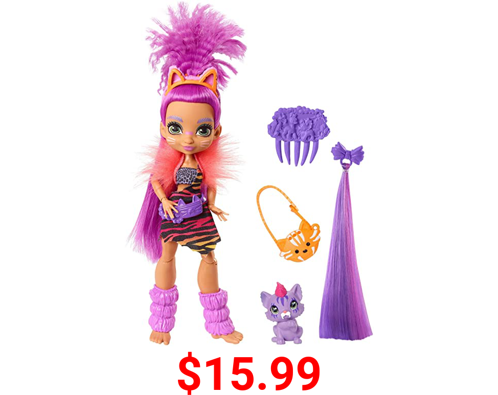 Cave Club Roaralai Doll (8 – 10-inch, Purple Hair) Poseable Prehistoric Fashion Doll with Dinosaur Pet and Accessories, Gift for 4 Year Olds and Up