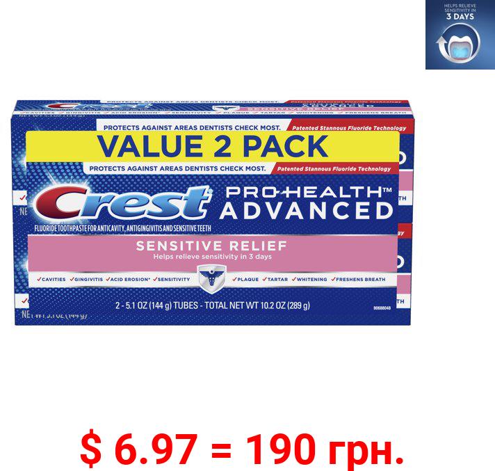 Crest Pro-Health Advanced Sensitive Toothpaste, 5.1 oz, 2 Pack