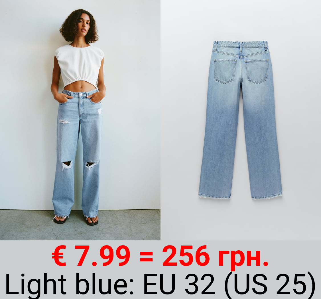 RELAXED FULL-LENGTH RIPPED JEANS