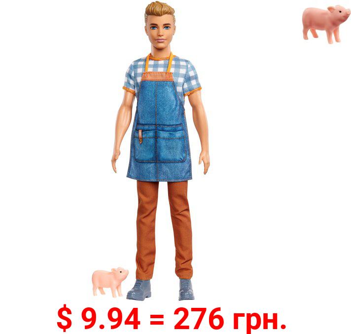 Barbie Sweet Orchard Farm Ken Doll, Sandy Blonde, with Piglet