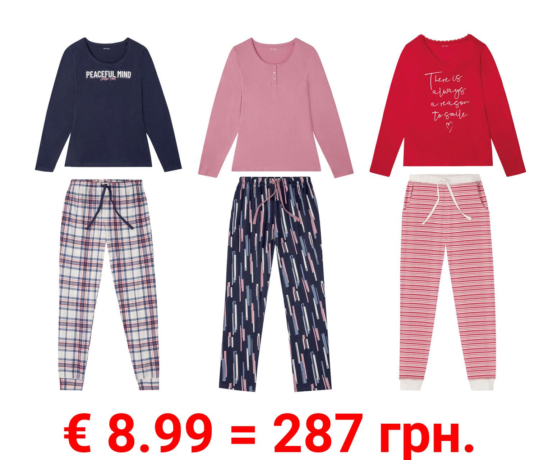 ESMARA® Pyjama Damen, aus Baumwolle