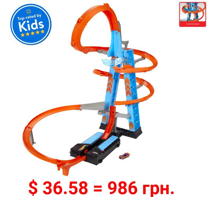 Hot Wheels Sky Crash Tower Track Set, 2.5+ Ft / 83 Cm High, Motorized Booster & 1 Car