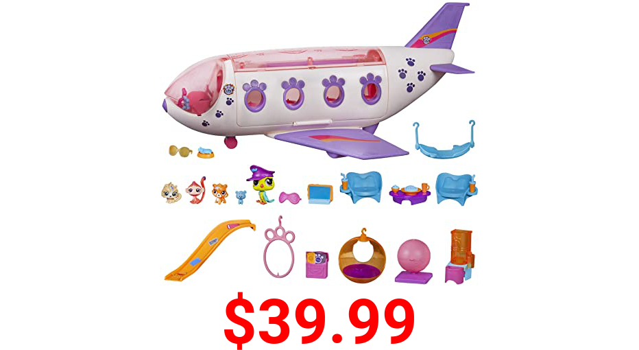 Littlest Pet Shop Pet Jet Playset Toy, Includes 4 Pets, Adult Assembly Required (No Tools Needed), Ages 4 and Up (Amazon Exclusive) Pink