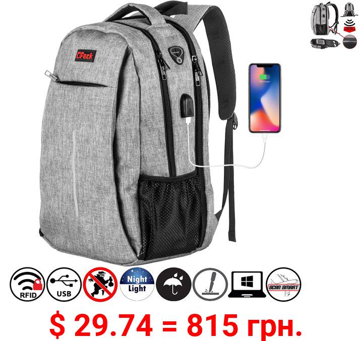 OPACK RFID-Safe Travel Laptop Backpack with USB Charging Port