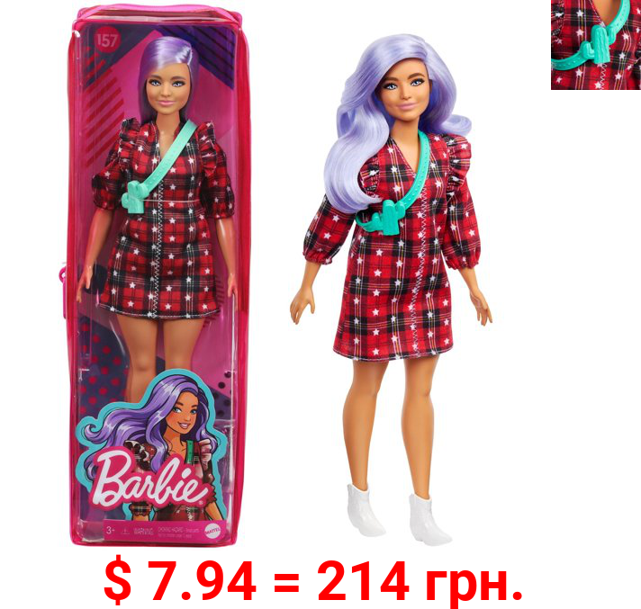 Barbie Fashionistas Doll #157, Curvy with Lavender Hair Wearing Red Plaid Dress, White Cowboy Boots & Teal Cross-Body Cactus Bag, Toy for Kids 3 to 8 Years Old