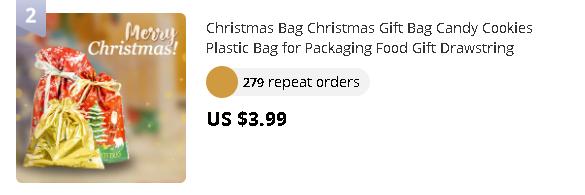 Christmas Bag Christmas Gift Bag Candy Cookies Plastic Bag for Packaging Food Gift Drawstring Drawstring Pocket