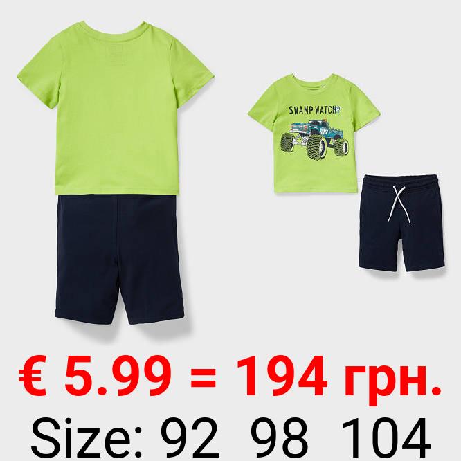 Set - Kurzarmshirt und Sweatshorts - Bio-Baumwolle - 2 teilig