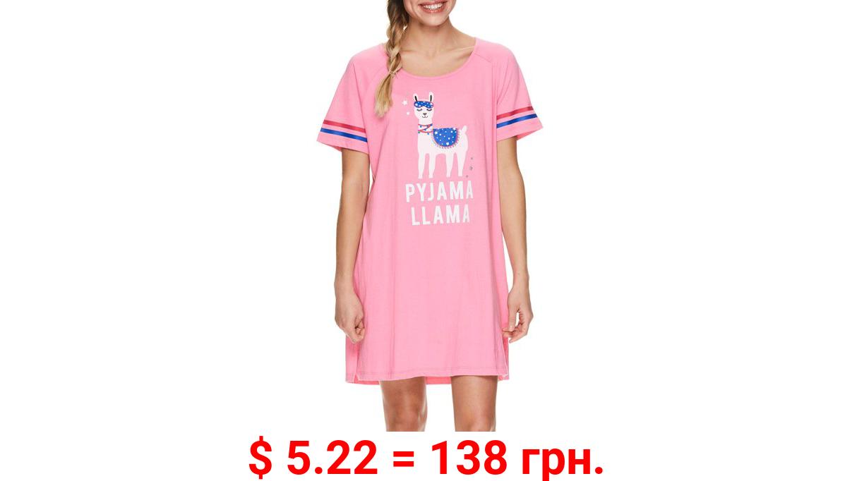 Sleep & Co. Women's Crew neck Cotton Short Sleeve Lounge Pajama Night Shirt