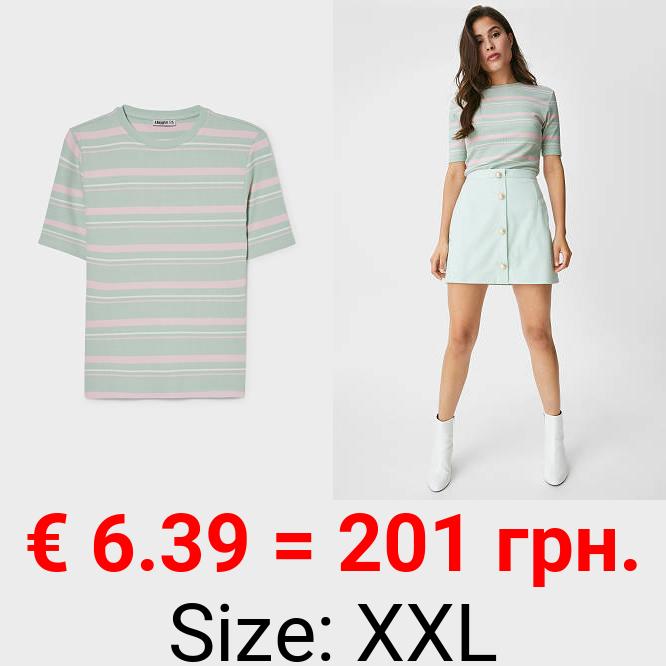 T-Shirt - gerippt - gestreift
