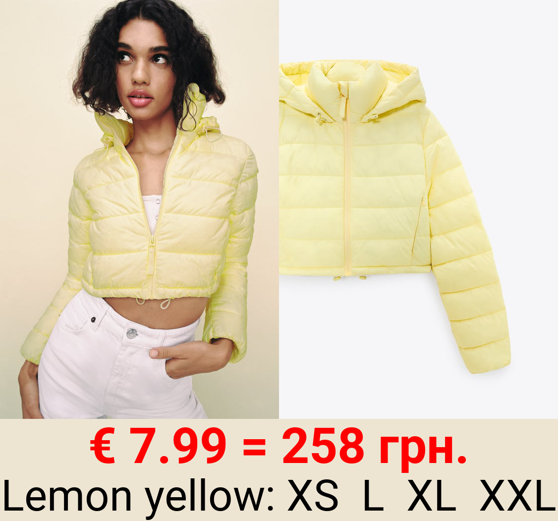 QUILTED CROPPED WATER-REPELLENT PUFFER JACKET