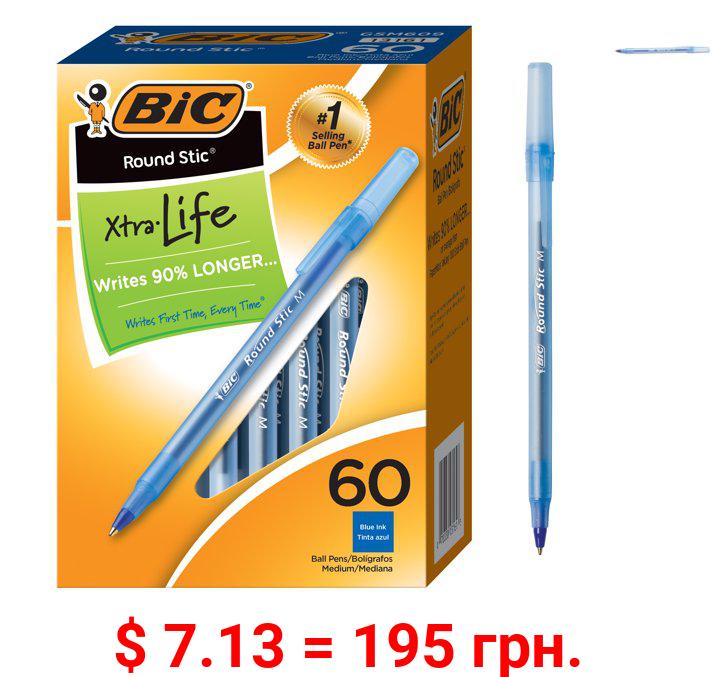 BIC Round Stic Xtra Life Ball Pen, Medium Point (1.0mm) -- Box of 60 Blue Pens