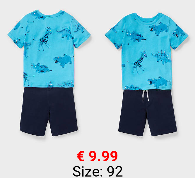 Dino - Set - Kurzarmshirt und Sweatshorts - Bio-Baumwolle