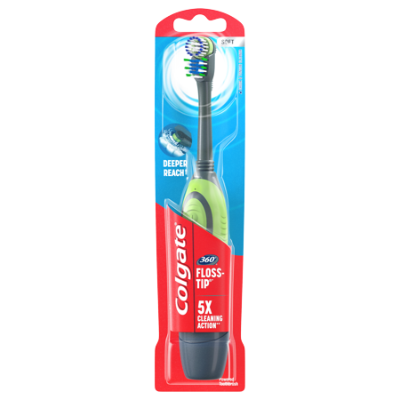 Colgate 360 Floss-Tip Battery Powered Toothbrush with Tongue and Cheek Cleaner, Soft, 1 Ct