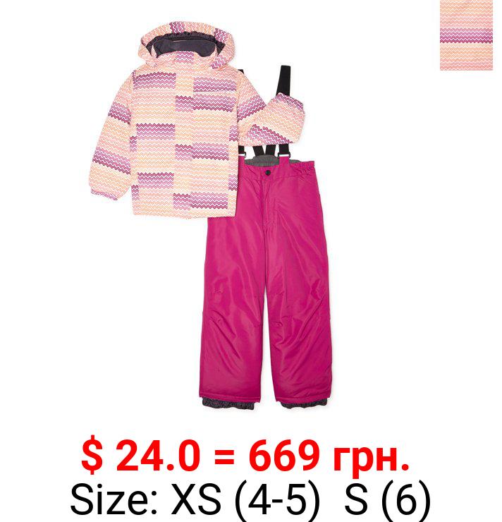 Girls Iceburg Winter Trax Insulated Jacket with Hood & Bib 2 Piece Set, sizes 4-6