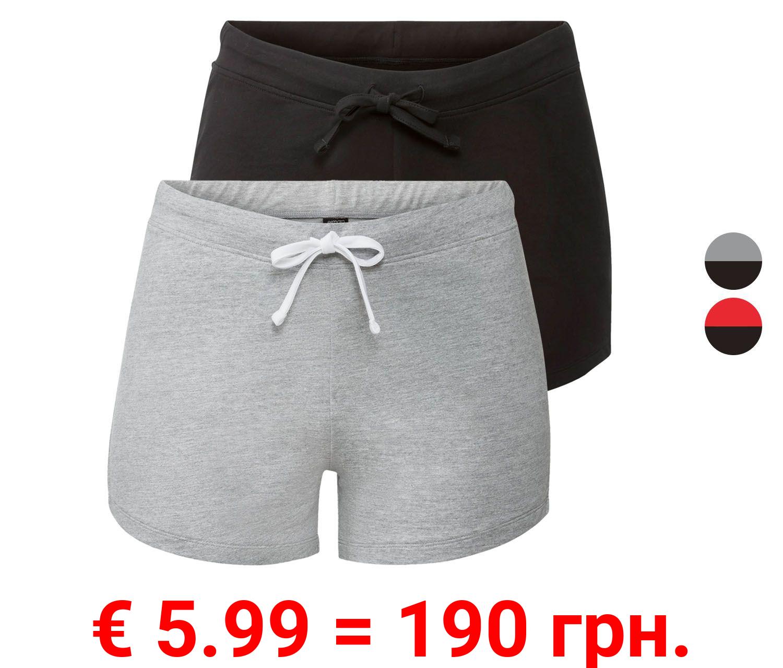 ESMARA® Sweatshorts Damen, 2 Stück, mit Bindeband