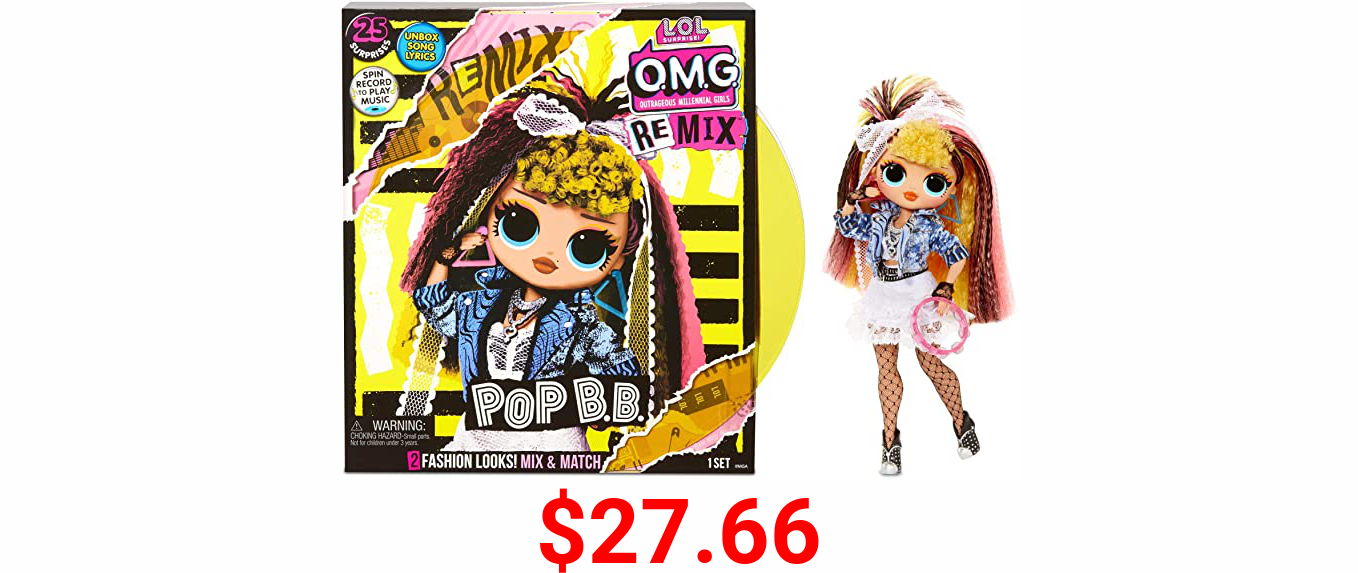 LOL Surprise OMG Remix Pop B.B. Fashion Doll, Plays Music, with Extra Outfit and 25 Surprises Including Shoes, Hair Brush, Doll Stand, Magazine, and Record Player Package - for Girls Ages 4+