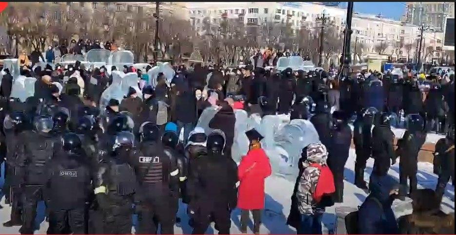 В Хабаровске проходит несанкционированная акция протеста