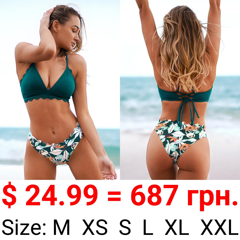 Green Scalloped Edge V-Neck Printed Bottom Bikini