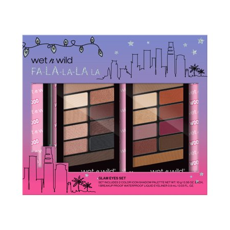 ($15 Value) wet n wild Glam Eyes Collection, 2 Color Icon Eyeshadow Palettes + 1 Waterproof Liquid Eyeliner, 3 Pieces