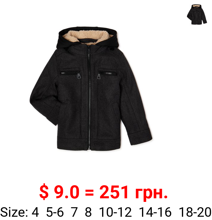 Urban Republic Boys Officer Jacket with Faux Sherpa Hood & Lining, Sizes 4-20