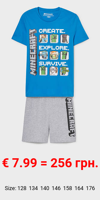 Minecraft - Shorty-Pyjama - Bio-Baumwolle - 2 teilig