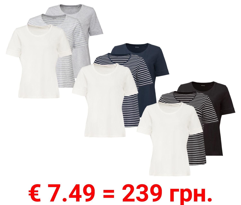 ESMARA® T-Shirt Damen, 3 Stück, mit Bio-Baumwolle und Elasthan