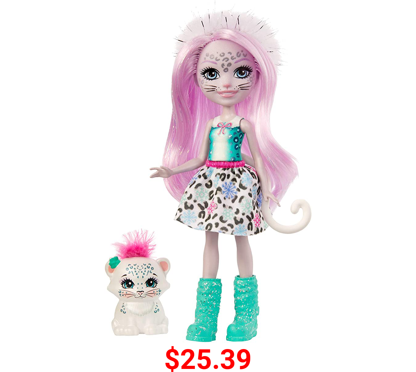Enchantimals Sybill Snow Leopard Small Doll (6-in) & Flake Animal Friend Figure, 6-inch Small Doll with Removable Skirt, Snow boots, and Fur Headband, Great Gift for 3 to 8 Year Olds