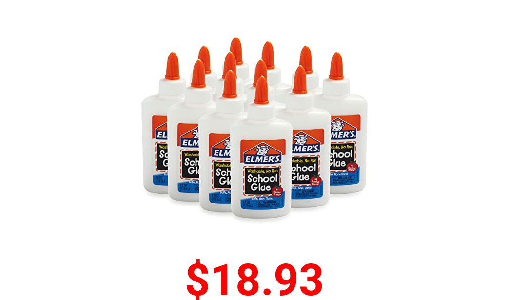 Elmers Liquid School Glue, Slime Glue & Craft Glue | Washable, 4 Ounces Each, 12 Count, Great for Making Slime