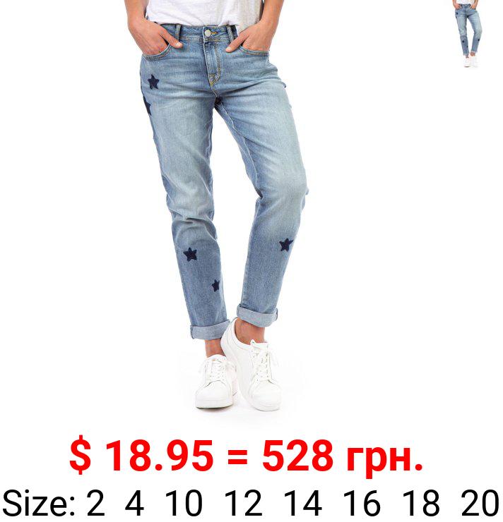 Jordache Women's Boyfriend Star Design Jeans