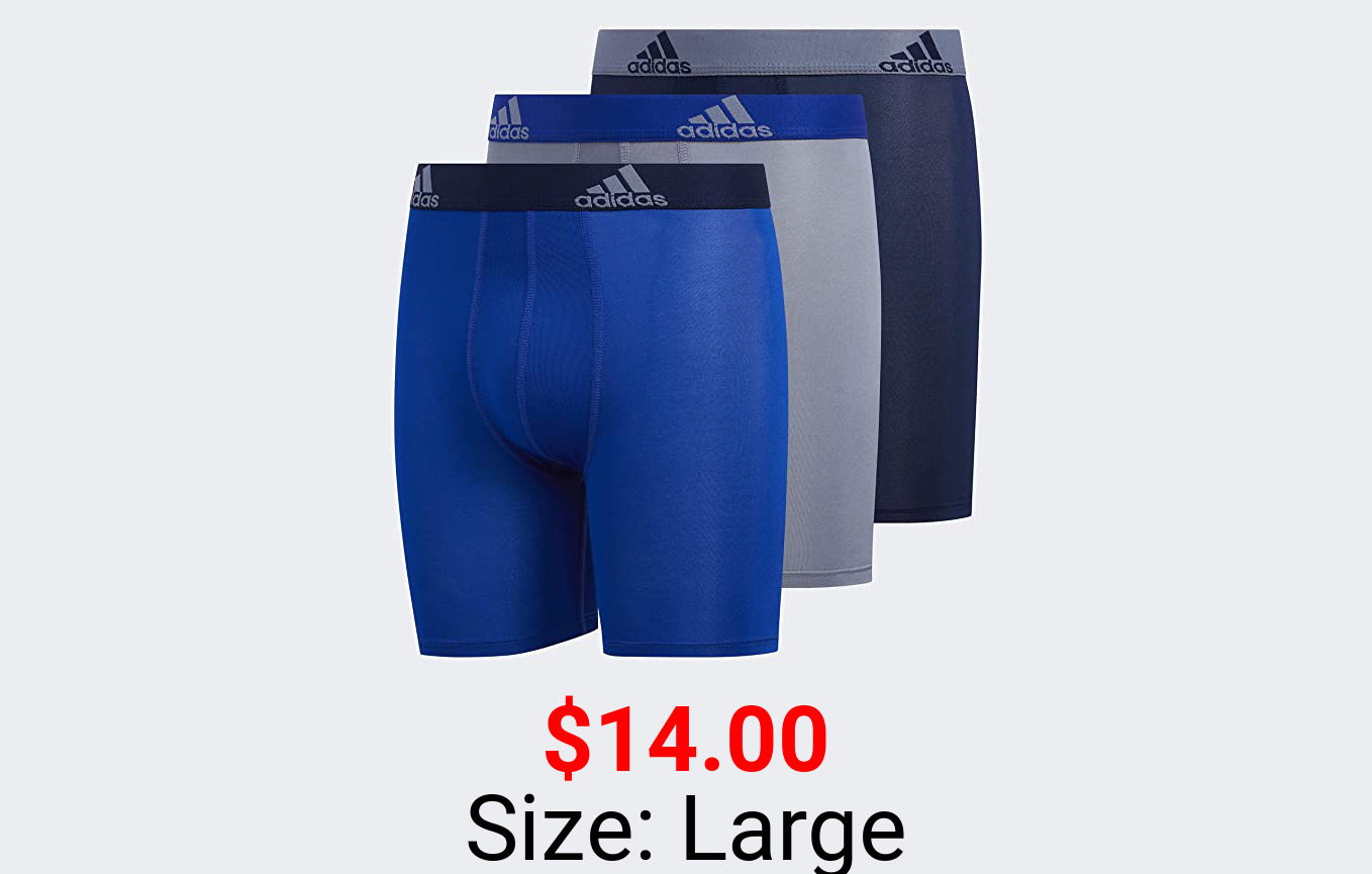 adidas Youth Sport Performance Climalite Long Boxer Briefs (3-Pack)