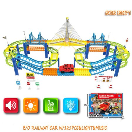 Racing Track Car Family Race Game w/light and music Multicolor 121 pcs w/bridges, 2 levels and accessories to create your own track Mundo Toys Miami