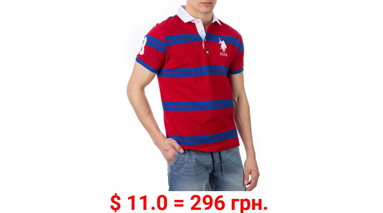 U.S. Polo Assn. Men's Rugby Stripe Pique Polo Shirt