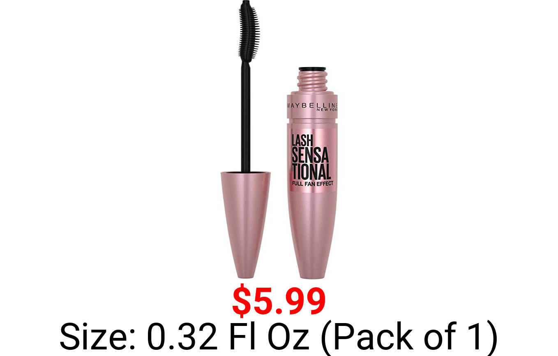 Maybelline Lash Sensational Washable Mascara, Blackest Black, 0.32 fl; Oz; (Packaging May Vary)
