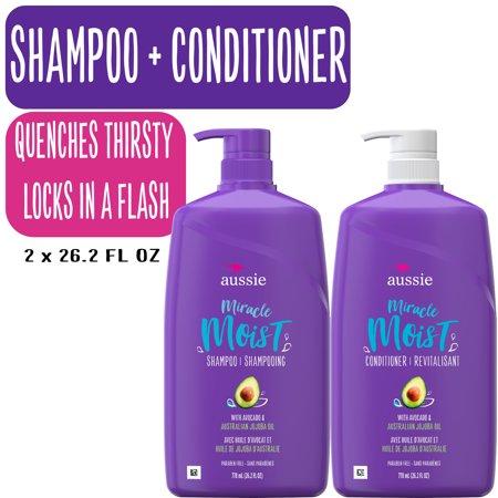 Aussie Miracle Moist Shampoo & Conditioner Paraben Free, Dual Pkl, 26.2 fl oz
