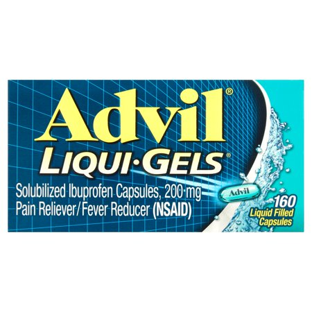 (3 pack) Advil Liqui-Gels (160 Count) Pain Reliever / Fever Reducer Liquid Filled Capsule, 200mg Ibuprofen, Temporary Pain Relief
