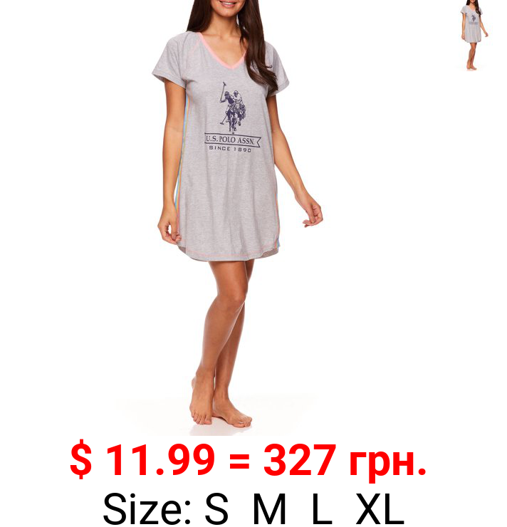 U.S. Polo Assn. Women's Short Sleeve V-neck Pajama Sleepshirt