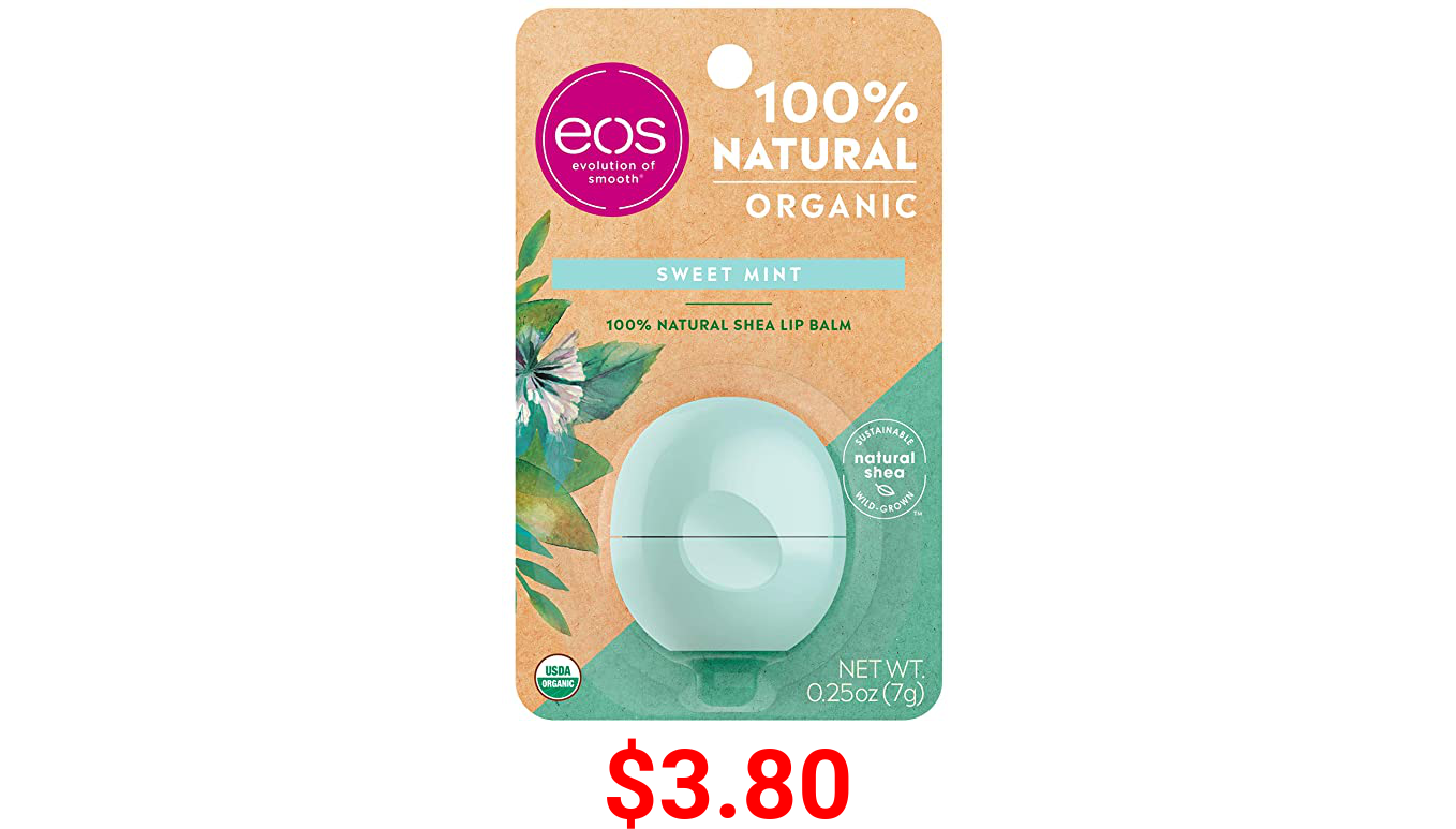 eos USDA Organic Lip Balm - Sweet Mint   Lip Care to Moisturize Dry Lips   100% Natural and Gluten Free   Long Lasting Hydration   0.25 oz
