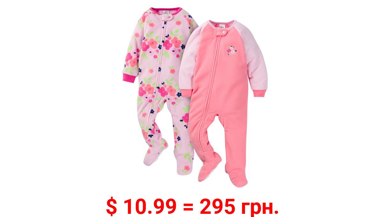 Gerber Baby & Toddler Girls 100% Polyester Fleece Pajamas, 2-Pack