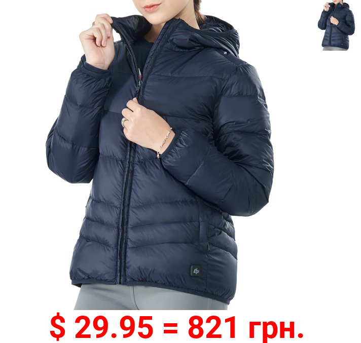 Topbuy Women's Heated Down Jacket Hooded Puffer Winter Coat Navy