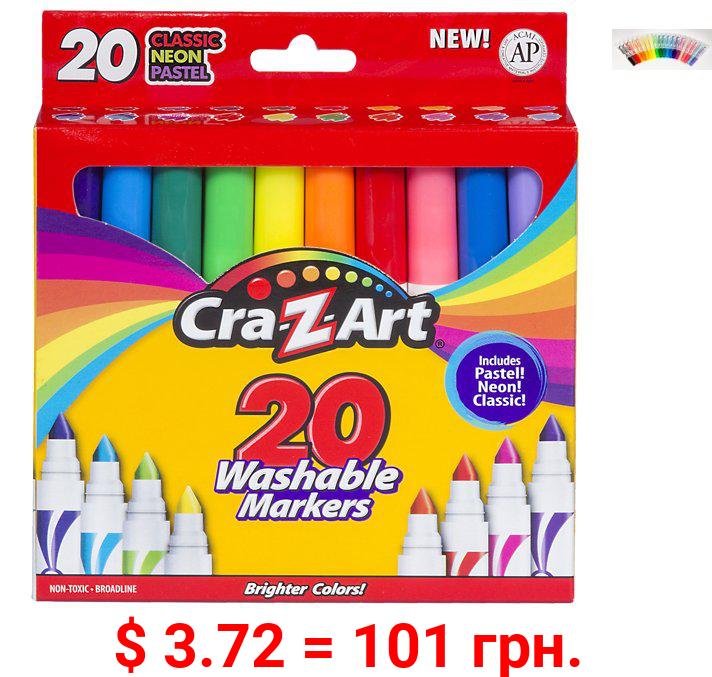 Cra-Z-Art Super Washable Broadline Markers, 20 Count