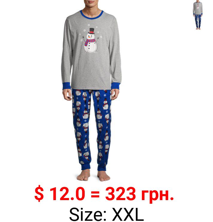 Matching Family Christmas Pajamas Men's Snowman 2-Piece Set
