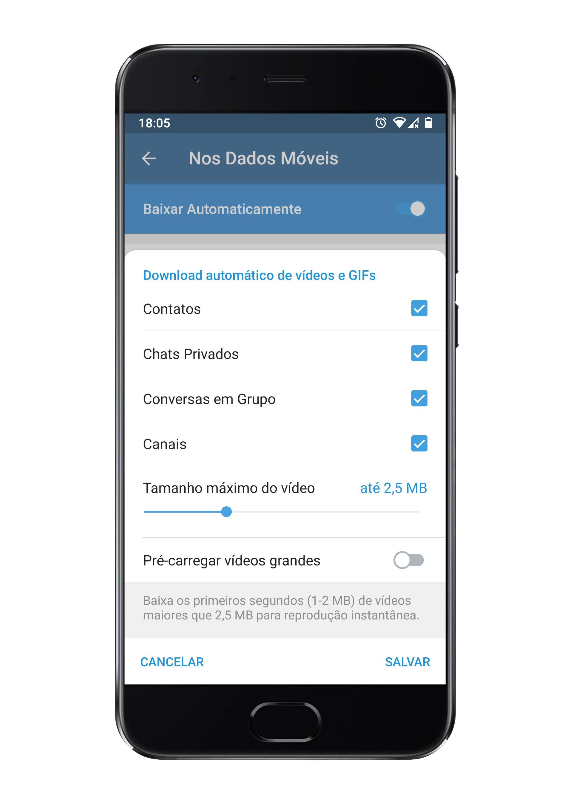 Configurações de download automático de vídeos e GIFs.