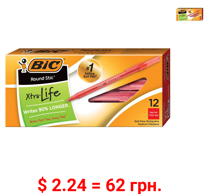 BIC Round Stic Xtra Life Ball Pen, Medium Point (1.0mm), Red, 12 Count, Flexible Round Barrel for Writing Comfort