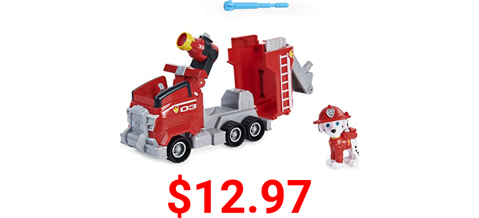 Paw Patrol, Marshall's Deluxe Movie Transforming Fire Truck Toy Car with Collectible Action Figure, Kids Toys for Ages 3 and up